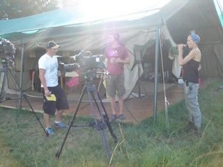 Pat McKeemam, Pete McGowen, Sophie Darlington on set Planet Earth Live